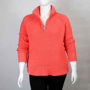 Lands' End Coral Pink Cable Knit Sweater